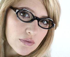 Vintage 50's French Black Rhinestone Cat Eye Eyeglasses