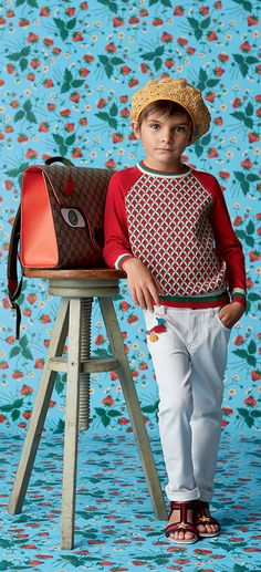 Cute Gucci Boys Red & White Sweater & Pants from the GUCCI Kids Spring Summer 2016 Collection. LEE CLOWER PHOTOGRAPHY #kids #fashion #kidsfashion #kidsstyle #gucci #boy