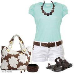 cute summer outfits,Aqua and Chocolate, Fashionista Trends Fashionista Trends, Summer Dress Outfits, Casual Outfits, Cute Outfits, Simple Outfits, Summer Clothes, Casual Wear, Look Fashion, Fashion Outfits