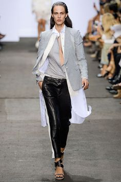 Rag & Bone spring '13: jacket over long white shirt, with leather pants