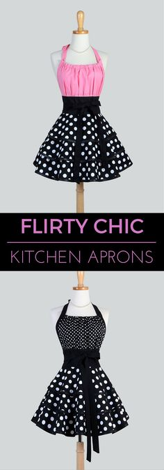 Sexy Black and White Polka Dot Flirty Chic Vintage Style Pinup Kitchen Cooking Apron will have you twirling around the kitchen as you cook or sip champagne. CreativeChics