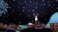 Étoiles Art, Fantasy Art, Wall Decor, fille Art Print - « Faire des souhaits »