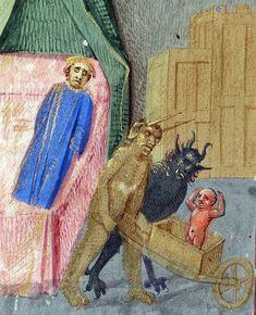#soul removal missal, France ca. 1470-1475 (Beinecke Rare #Book and #Manuscript #Library, MS 425, fol. 196v) #devil #devils #satan #hell…