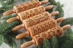 Embossed rolling pins, personalized solid wooden gifts by MoodForWood