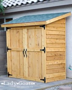 Perfect little outdoor armoire! Ana White Outside Storage Shed - no floor--plans and tutorial. Hers is cedar and cost $260. Would be a lot cheaper with diff siding. http://ana-white.com/2012/04/plans/small-cedar-fence-picket-storage-shed