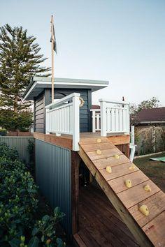Kyal & Kara created a magical, nautical-inspired cubby house for their son. Backyard Playset, Backyard Playhouse, Build A Playhouse, Backyard Playground, Backyard For Kids, Playground Ideas, Kids Cubby Houses, Kids Cubbies, Play Houses