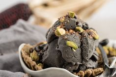 Black Ice Cream: An Activated Charcoal Treat for Detoxification - Dr. Charcoal Ice Cream, Black Ice Cream, Paleo Dessert, Healthy Dessert Recipes, Whole Food Recipes, Vegan Desserts, Vegan Recipes, Ice Cream Toppings, Ice Cream Recipes