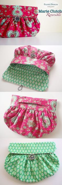 """Handbag sewing pattern - Marie Reversible Clutch PDF Pattern. This vintage style clutch goes with both a modern and retro look. With it's reversible feature, it's like having two purses! Finished Size: 7""""H x 8.5""""W (17.75cm H x 21.5cm W)"""