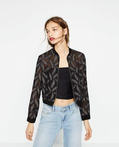 ZARA - WOMAN - SHEER BOMBER JACKET WITH LEAF EMBROIDERY