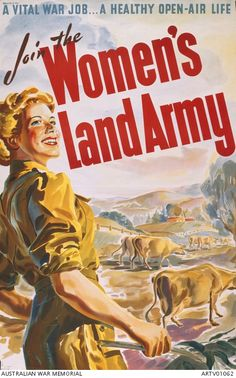 Postcard World War Two Propaganda Poster Art Wwii Join Women's Land Army Ww1 Propaganda Posters, Ww2 Posters, History Posters, Retro Poster, Vintage Posters, Women's Land Army, Ww2 Women, Posters Australia, Land Girls
