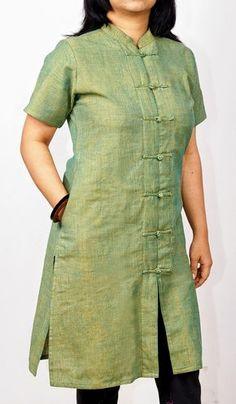 Indian Handlooms: Pamper Yourself with Handloom Fabrics Salwar Designs, Simple Kurti Designs, Kurta Designs Women, Kurti Designs Party Wear, Dress Neck Designs, Designs For Dresses, Blouse Designs, Kurta Neck Design, Kurti Patterns