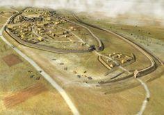 Gallic village evolution, I century BC, Paule (Côtes d'Armor), Bretagne, art by Laurence Stefanon