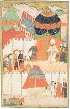 Seyyid Lokman bu minyatürde Şehzade Mustafa'nın cesedinin, idamdan sonra otağ önündeki bir çadırda teşhirini çizmiş.Şehzadenin hemen ayakucunda, imrahoru ve alemdarının başları gövdelerinden ayrılmış cesetleri görülmektedir.Kanunî, otağı önünde kurulu tahtında oturmakta ve işlerini bitiren cellâtlardan dördü, yüzleri padişaha dönük olarak beklemektedirler.  A. Atilla Şentürk, Şehzade Mustafa Mersiyesi, Enderun Kitabevi, s.132-(Hünername, c.II, vr. 172a, Topkapı Sarayı Müzesi Kütüphanesi H…