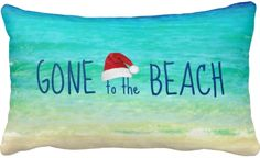 Gone to the Beach Santa Christmas Pillow Beach Christmas Trees, Coastal Christmas Decor, Nautical Christmas, Tropical Christmas, Christmas Pillow, Santa Christmas, All Things Christmas, Christmas 2016, Christmas Time