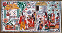 Madhubani painting 2009. traditional Indian Wedding. Acrylic over fabric.