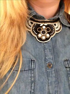 #denim #statementnecklace #beads denim statement necklace beaded
