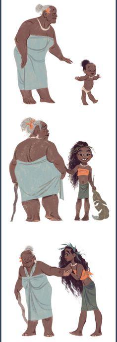 Moana and Gramma Tala by Annette Marnat Disney And Dreamworks, Disney Pixar, Riley And Lucas, Moana 2016, Modern Disney, Warrior Women, Disney Addict, Character Design References, Disney Fan Art