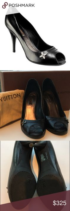 Louis Vuitton Kensington Peep Toe Black pump Leather; made in Italy; SUPERB CONDITION; adorable signature LV flower ornament at toe.  Very comfortable.  Purchased at Louis Vuitton store in Aspen, CO.  Original box and dust bag included.  Sold out EVERYWHERE. Louis Vuitton Shoes Heels