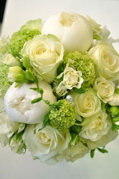 green hydrangeas with cream roses and freesia... peonies are not in season in November