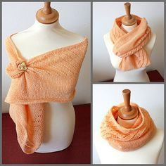 INSTANT DOWNLOAD - Knitting Pattern (PDF file) Diagonal Lace Cowl-Scarf-Shawl