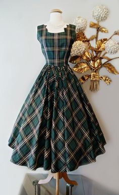 Vintage Green Tartan Dress