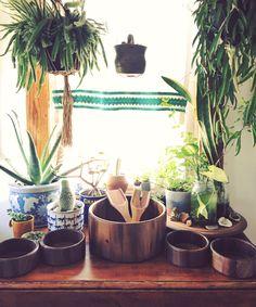 Vintage Wooden Salad Bowl Set with Four Small Wooden Bowls and Wood Fork Spoon Vintage Wood Mixing Bowl Set Wood Utensils Boho Kitchen by VintageandVellum on Etsy https://www.etsy.com/listing/385937636/vintage-wooden-salad-bowl-set-with-four
