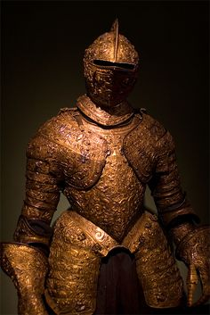 Plate armour for Henry II of France, made around 1555, with elaborate ornamental embossing.