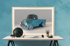 Blue car clipart pickup truck clip art wall room by DigiFrog