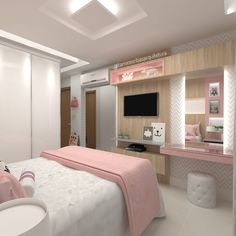 beautiful bedroom decor ideas for teen girls that looks comfy 52 Teen Bedroom Designs, Bedroom Decor For Teen Girls, Room Design Bedroom, Home Room Design, Small Room Bedroom, Bedroom Ideas, Wood Bedroom, House Design, Girl Bedrooms