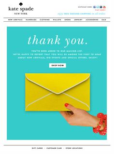 Thank You Kate Spade in News letters | emails