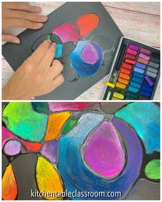 Learn to blend chalk pastels using dried glue as some structure chalkart pastels artforkids makearteveryday Chalk Pastel Art, Chalk Pastels, Chalk Art, Chalk Crafts, Pastel Artwork, Arte Elemental, Art For Kids, Crafts For Kids, Easter Crafts
