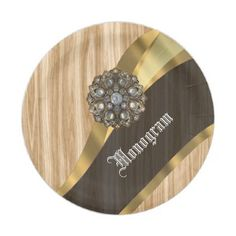 Antique wood effect and gold paper plate - retro kitchen gifts vintage custom diy cyo personalize