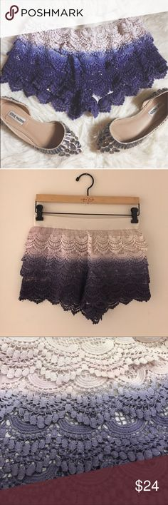 Crochet shorts Ombré crochet shorts. Super comfortable and super cute. Great over a bathing suit for the beach or great with a bodysuit and some cute wedges. Never worn, just been sitting in my closet. NOT FREE PEOPLE Free People Shorts