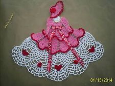 Handmade Crocheted Valentine Romantic Crinoline Doily pinned from E BAY Crochet Chart, Thread Crochet, Crochet Motif, Crochet Stitches, Crochet Dollies, Crochet Girls, Crochet Flower Patterns, Doily Patterns, Crochet Doll Clothes