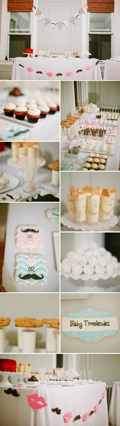 A fun gender reveal baby shower with a lips and mustaches theme.