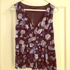 INC blue and white floral blouse Beautiful ruffled tank that can be dressed up for work or dressed down for a night out out. Has never been worn! INC International Concepts Tops Blouses