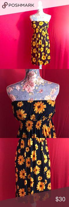 Sunflower Strapless Dress Vintage. Vintage Dresses Strapless