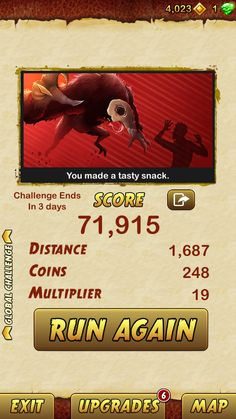 I got 71915 points while escaping from a Giant Demon Monkey. Beat that! http://bitly.com/TempleRun2iOS