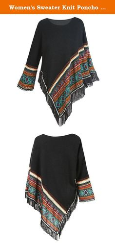 Women's Sweater Knit Poncho - Black Fringed Aztec Print Pullover Cape - Large. This stylish popover includes a single sleeve with a border design which adds lovely color and texture to the edge of the sleeve and hem. Jewel neckline; fringe at the hem. Hand wash. 80% acrylic/20% polyester. Imported. S-XL.