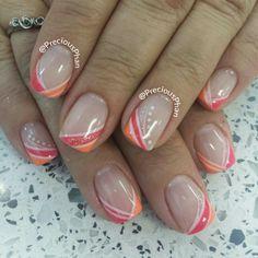 Summer, pink and orange nails nailart by @Mabel Noel Phan