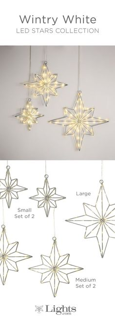 LED Stars Collection |  Available in large, medium, and small sizes.