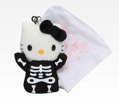Hello Kitty Plush Ghost Key Ring: Skeleton