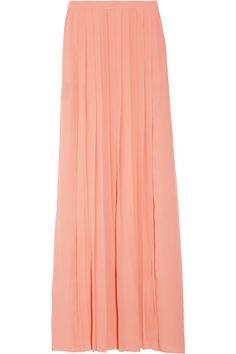 Tibi pleated silk-crepe maxi skirt