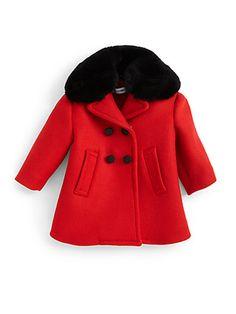 #Dolce & Gabbana Infant's Fur-Collar Wool Coat