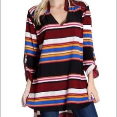I just discovered this while shopping on Poshmark: Burgundy Striped Hi Lo Blouse. Check it out! Price: $22 Size: Various