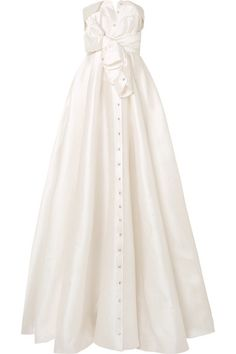 Alexis Mabille Bow-detailed Embellished Satin-twill Gown In White Alexis Mabille, Most Expensive Wedding Dress, Flower Girl Dresses, Prom Dresses, Satin Gown, Ring Verlobung, Designer Wedding Dresses, Bridal Gowns, Beautiful Dresses