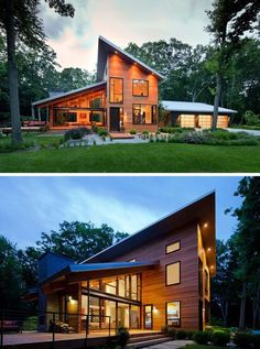 The sloped roofs on this wood-clad modern home promote excellent drainage and open up the house to allow to take advantage of the greenery around it. Modern Roof Design, Flat Roof Design, Shed Design, Rooftop Design, Modern Shed, Modern House Plans, Roof Architecture, Modern Architecture House, Flat Roof House Designs