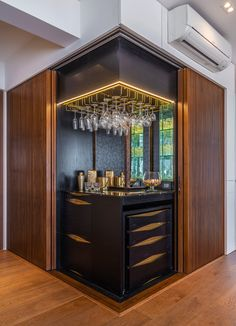 The designers from A&k Design Studio have ensured that functionality and aesthetics go hand in hand while designing this Mumbai apartment Home Building Design, Home Room Design, Interior Design Studio, Modern Interior Design, House Design, Modern Home Bar Designs, Bar Interior, Kitchen Bar Design, Counter Design