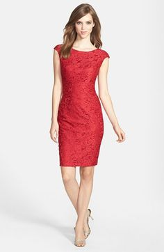 $168, Red Lace Sheath Dress: Jax Cap Sleeve Lace Sheath Dress. Sold by Nordstrom. Click for more info: https://lookastic.com/women/shop_items/58382/redirect