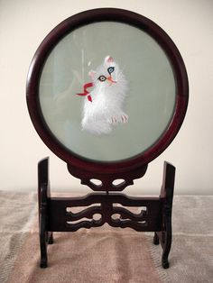 China 2 Sided Suzhou Embroidery Persian CAT 1 Blue 1 Brown EYE Rosewood Stand | eBay